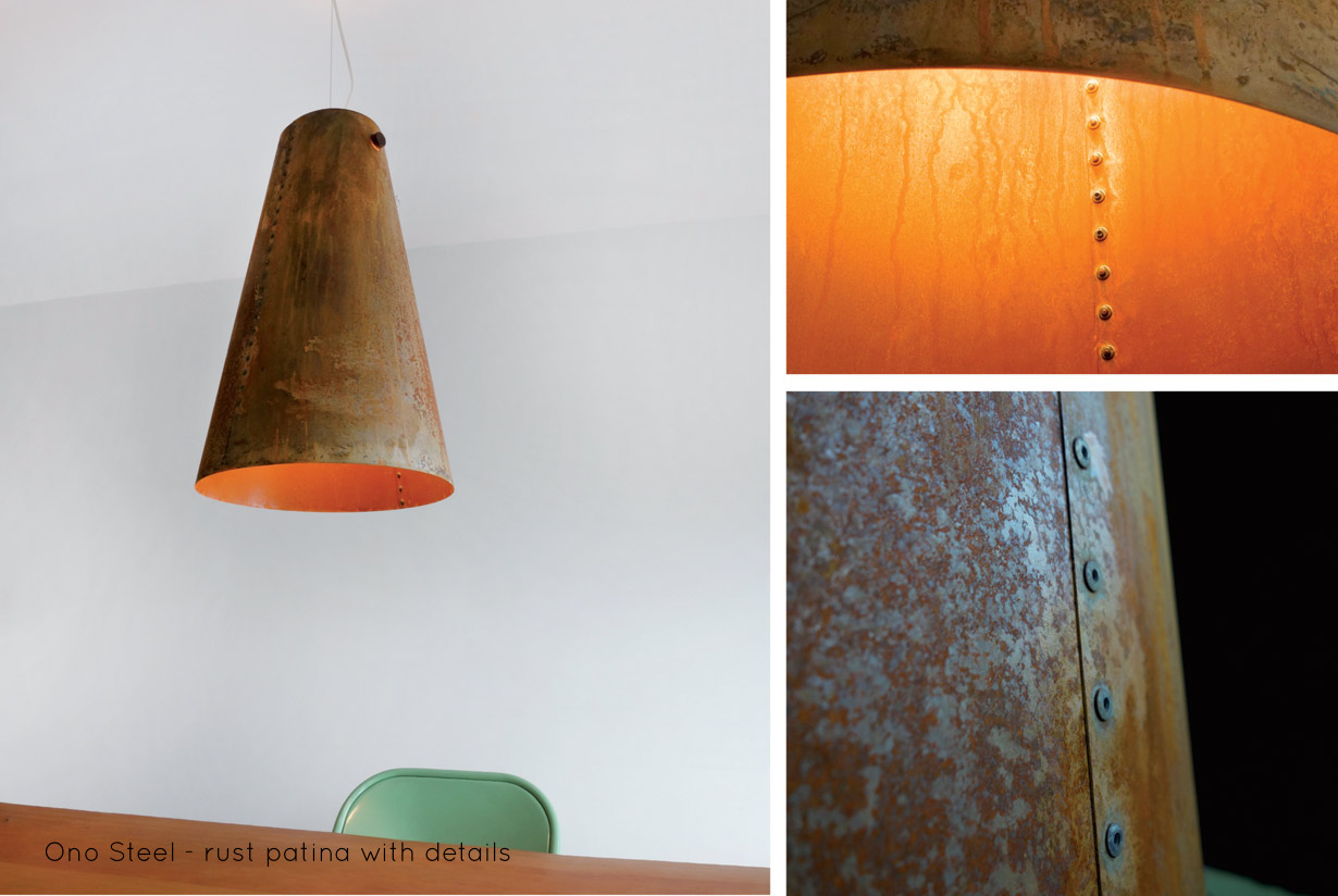 Ono Steel Pendant with details | With Ono Steel we explore the beauty and warmth of rusted metal. Ono Steelis hand riveted, lit with anLED lamp and hung from a solid walnut spindle. | propellor.ca