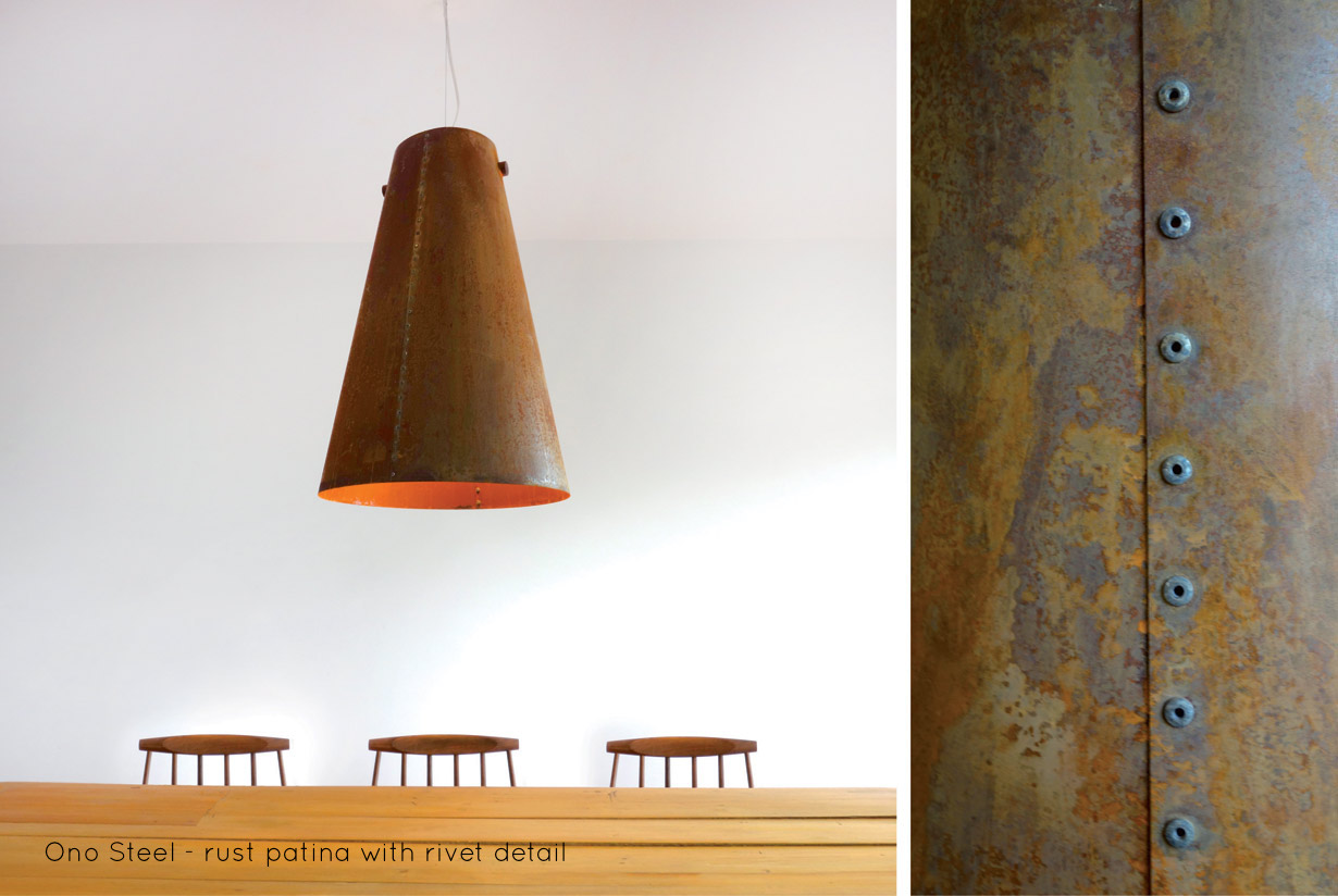 Ono Steel Pendant, rivet detail | With Ono Steel we explore the beauty and warmth of rusted metal. Ono Steelis hand riveted, lit with anLED lamp and hung from a solid walnut spindle. | propellor.ca