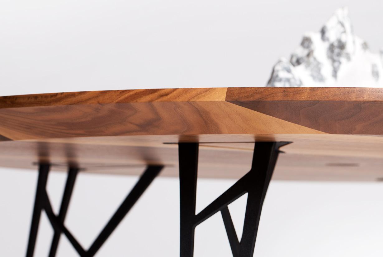 Range Table - walnut hardwood with mountain sculpture detail