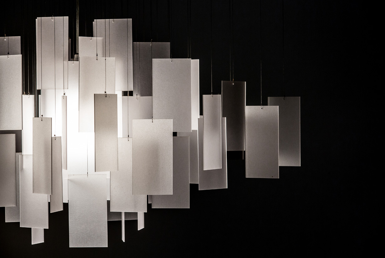 Cumulus 30 x 22 Chandelier detail - white eco-resin