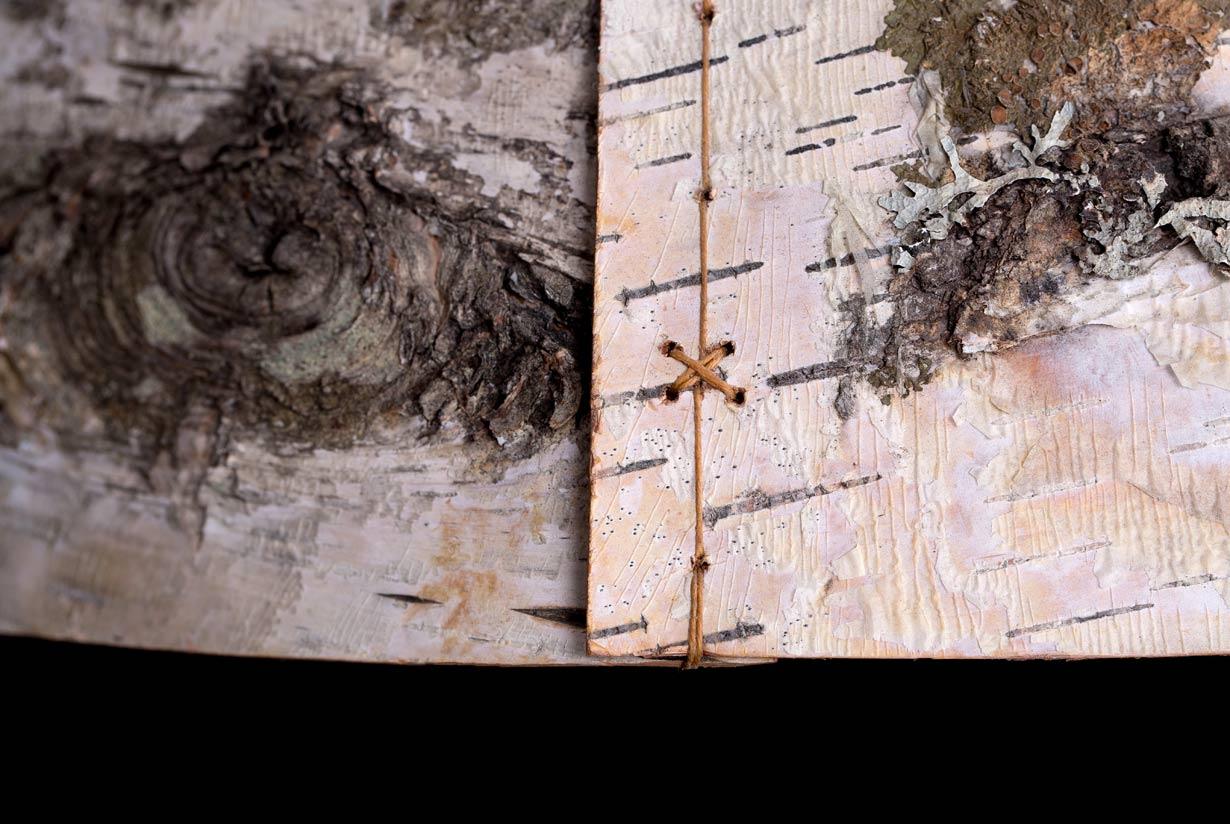 Ono Birch Bark Pendant Light waxed linen detail
