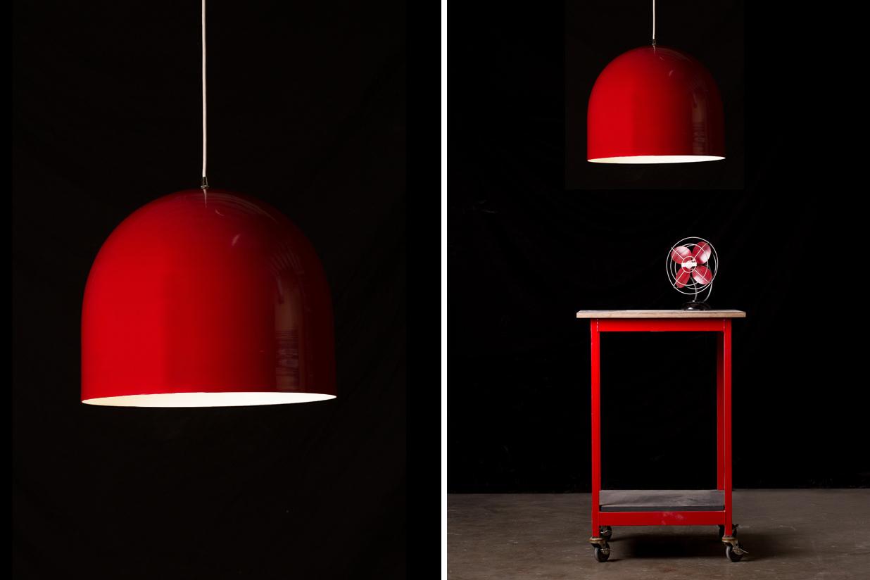 "Homespun Pendant Light - 18""Ø red and white"