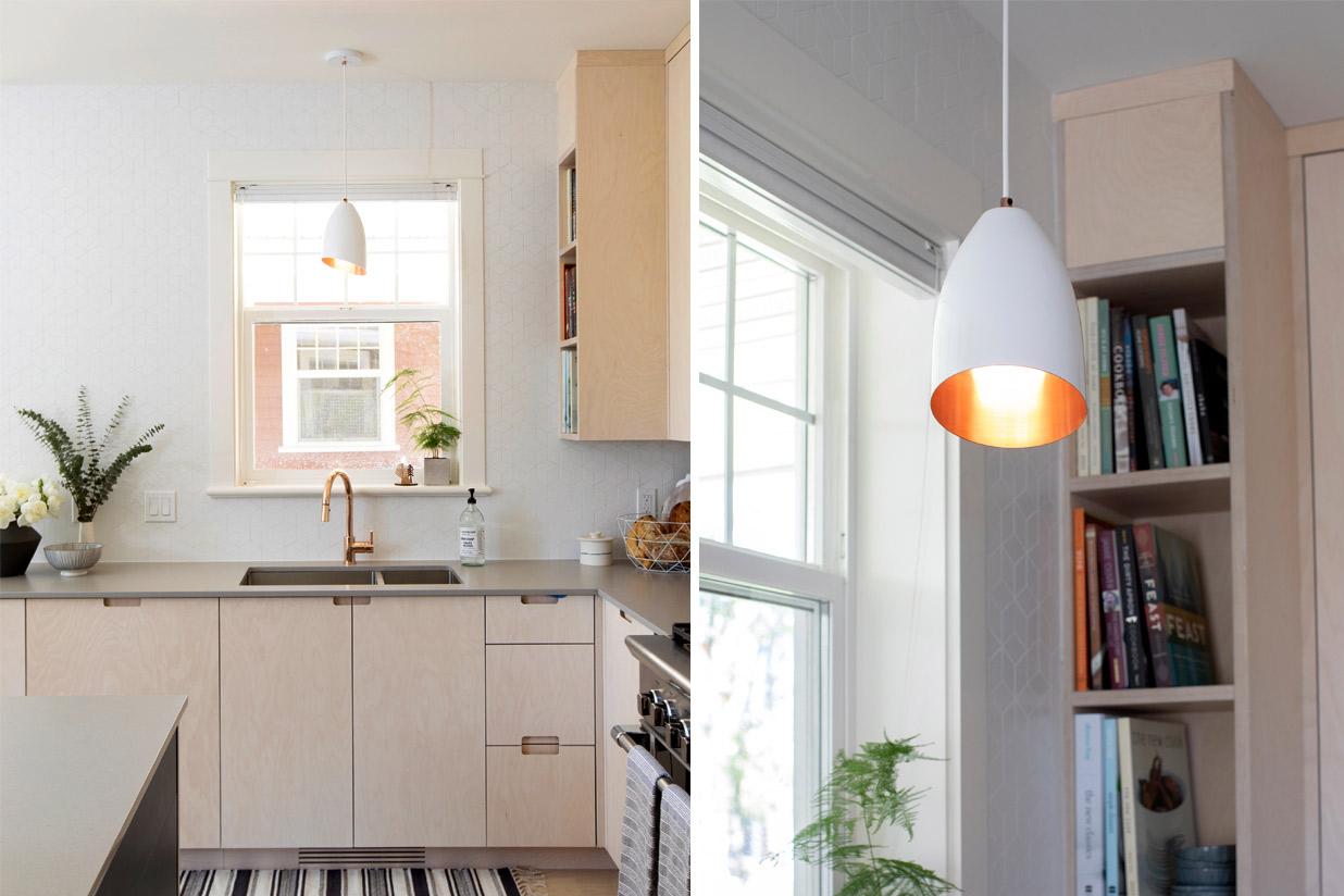 "Homespun Pendant Light - 6.5""Ø white and copper with beveled edge"