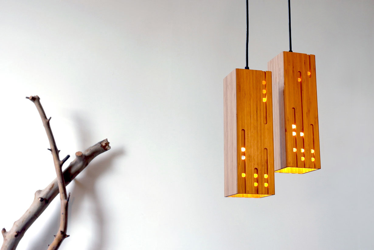 Calvino 2 bamboo pendant light