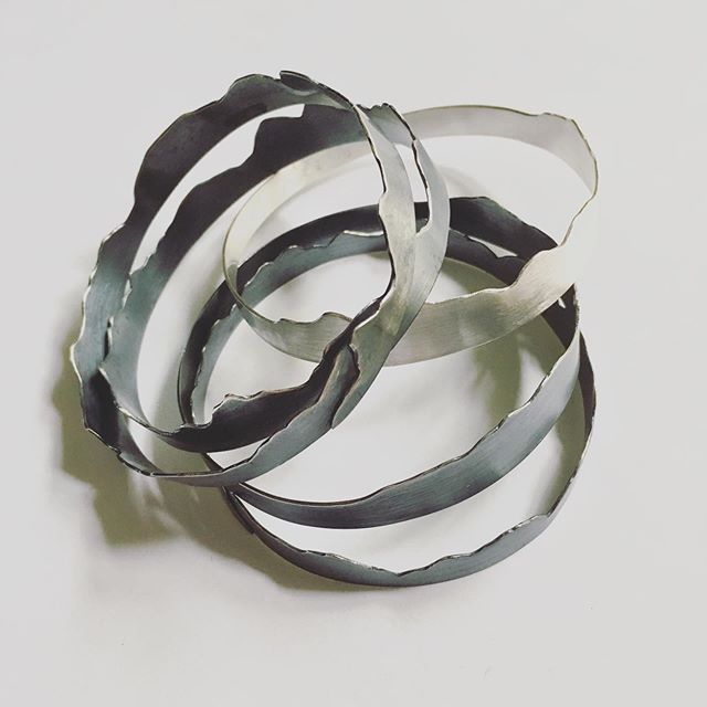 """Brand new sterling silver """"Torn Paper"""" bangles, now @unionhandmade."""