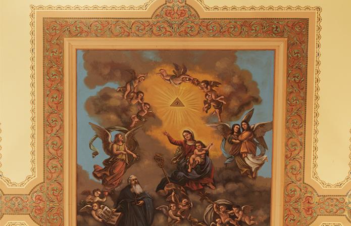"Ceiling fresco ""Saint Augustine in his Glory,"" at Saint Augustine Church in Philadelphia"