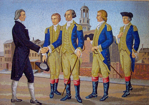 Commodore John Barry (Right) is depicted with Matthew Carr, O.S.A. (left) and other contributors to Saint Augustine Church, including Gorge Washington (center)