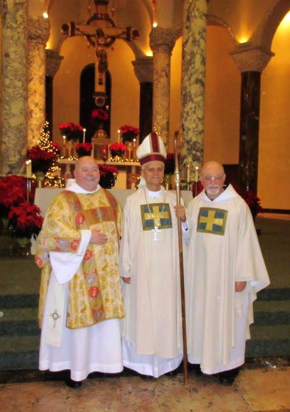 Brother Joe Murray, O.S.A. (left). Bishop Robert Prevost, O.S.A. (center) and Prior Provincial Michael Di Gregorio, O.S.A., of the Province of Saint Thomas of Villanova.