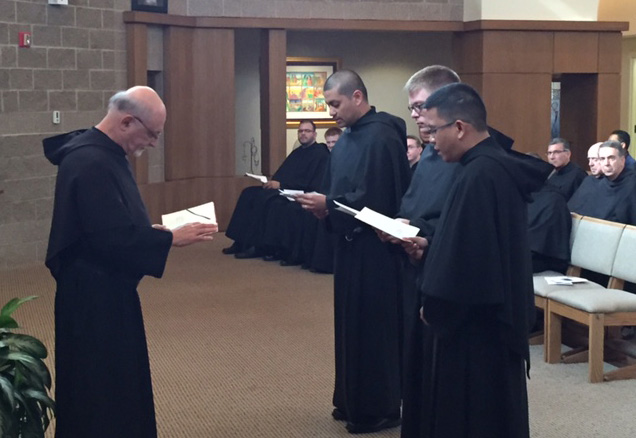 (L-r): Prior Provincial Michael Di Gregorio, O.S.A., received the renewal of vows from Brothers Javier Aguilar, O.S.A., Bryan Kerns, O.S.A., and Aldo Potencio, O.S.A.