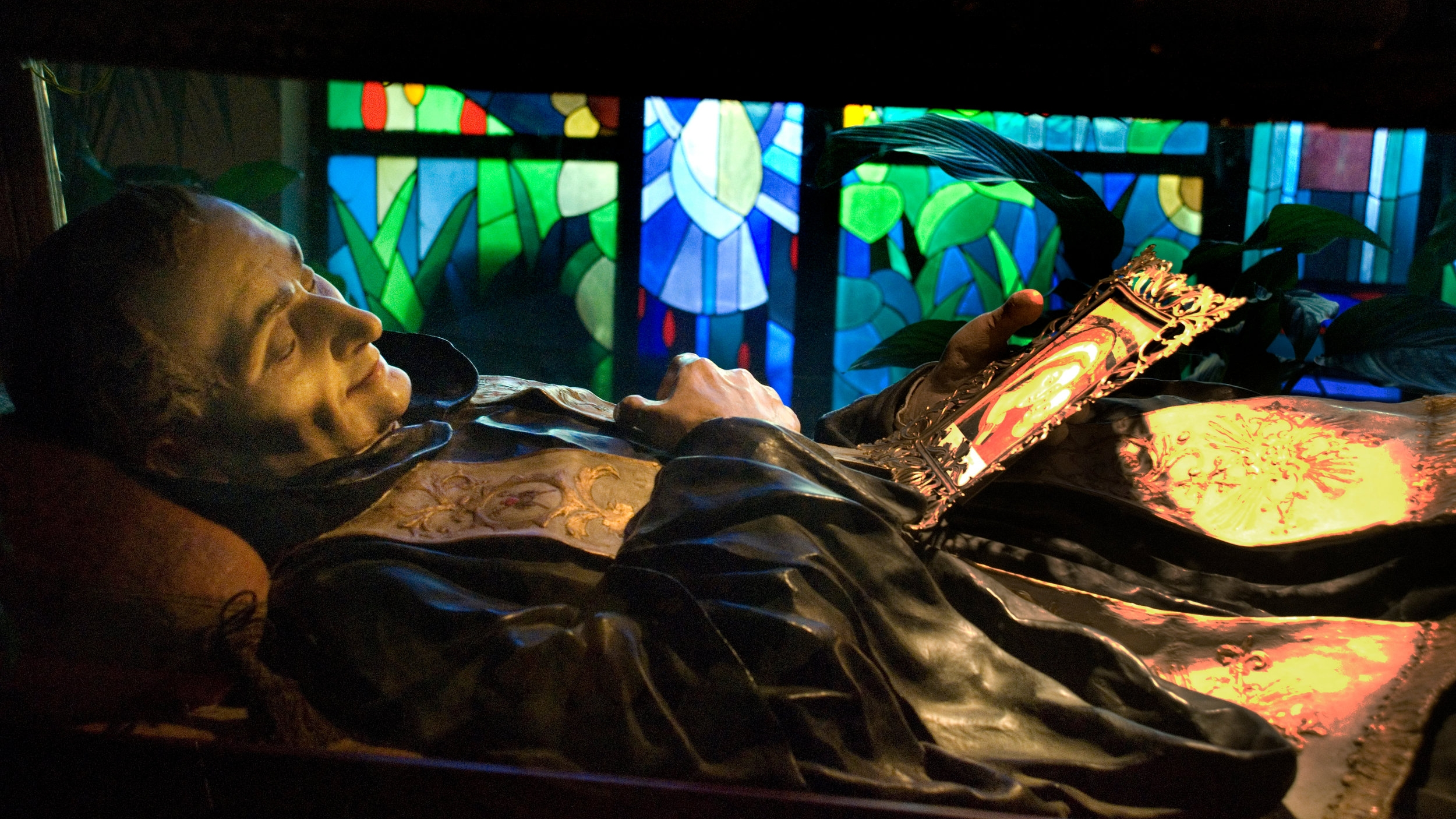 Genazzano Italy--the body of Blessed Stephen Bellesini in his current state on display at the Church of Our Mother of Good Counsel. Photo by Kevin Salemme.