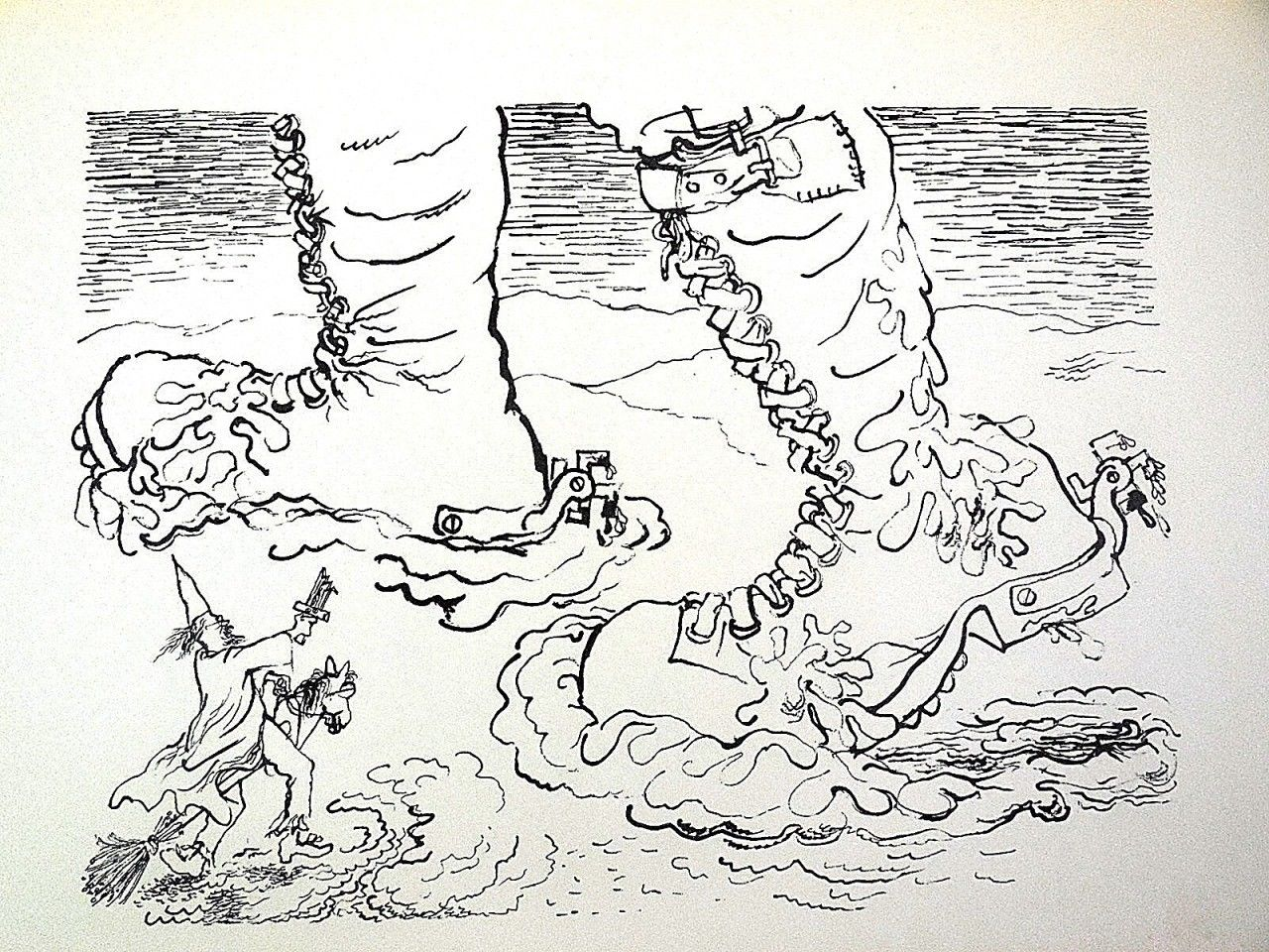 Old war boots. Lithograph by George Grosz 1936.
