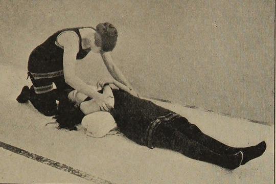 Trainee nurse reviving a patient.