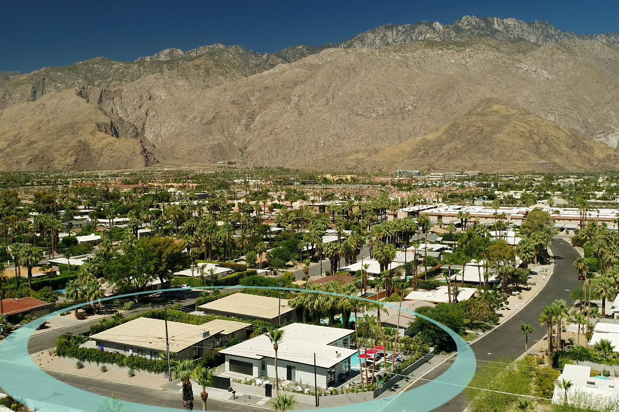 Palms at Park features 3 side-by-side Palm Springs luxury rentals with 5, 5 and 6 bedrooms respectively.