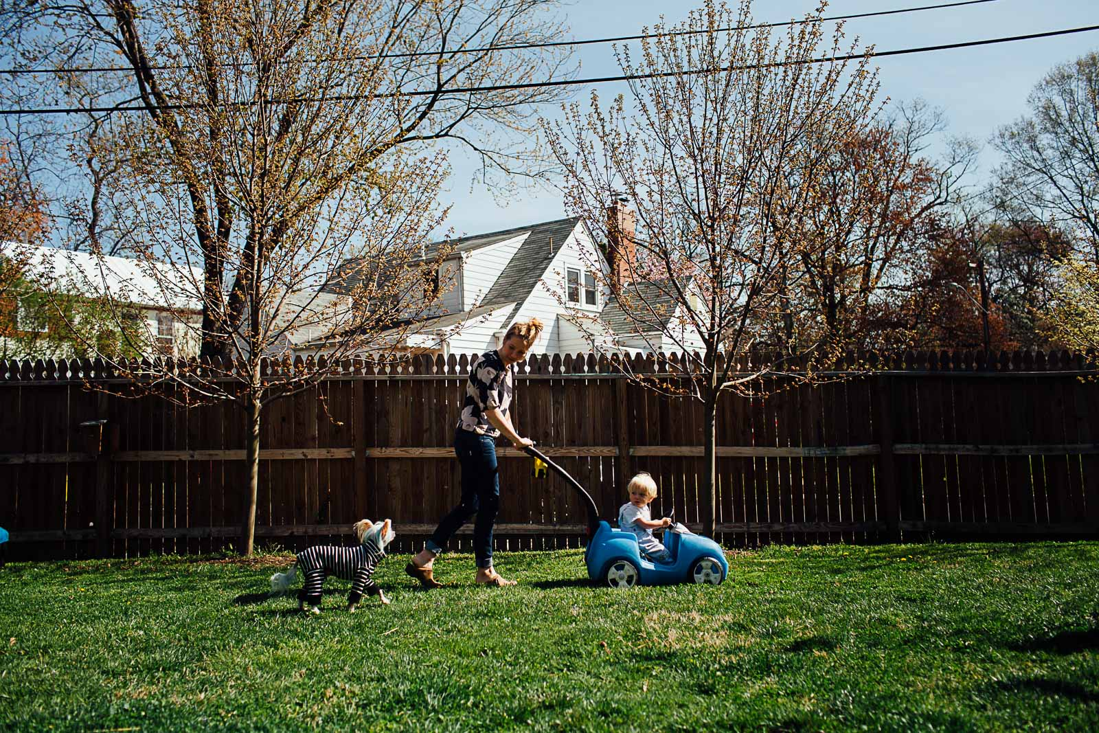 toddler in a wagon in the backyard by Maryland Documentary photographer Juliette Fradin