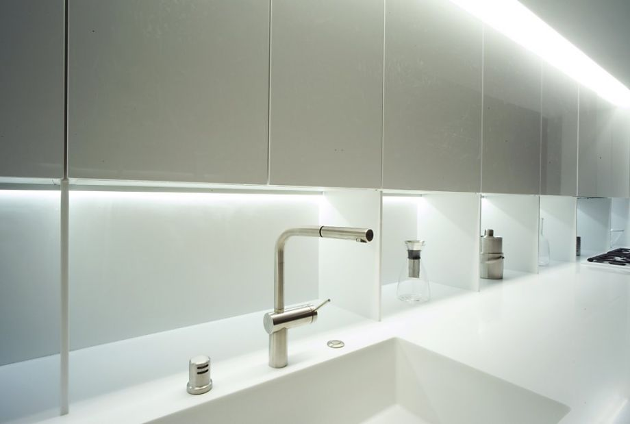 Solid surface countertop featuring an integrated sink