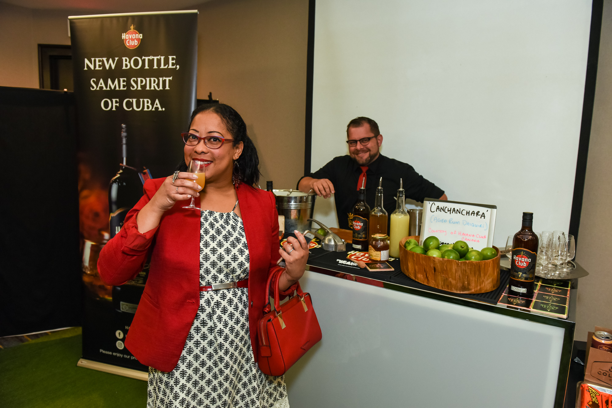 Janelle from The Scene in TO enjoys here Havana Club cocktail Photo: Nick Wons