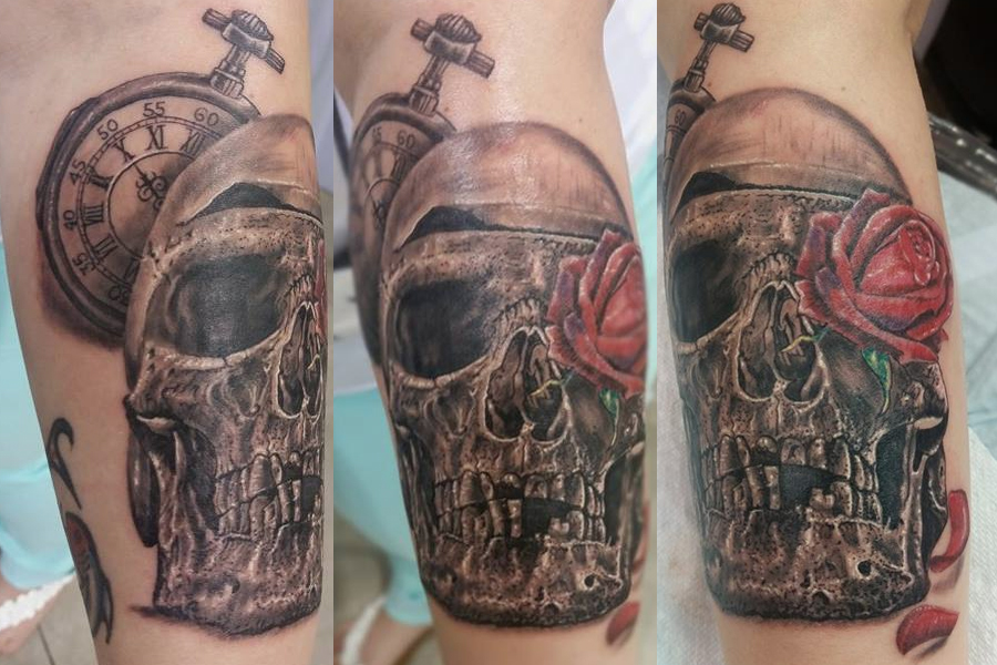 Skull rose and clock