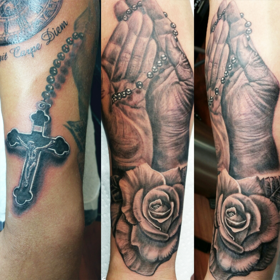 Rosary and hands