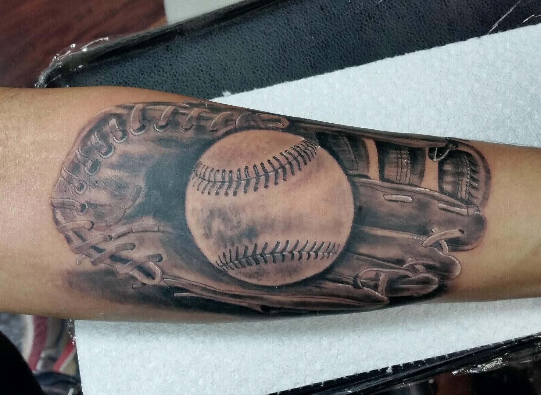 Baseball with glove