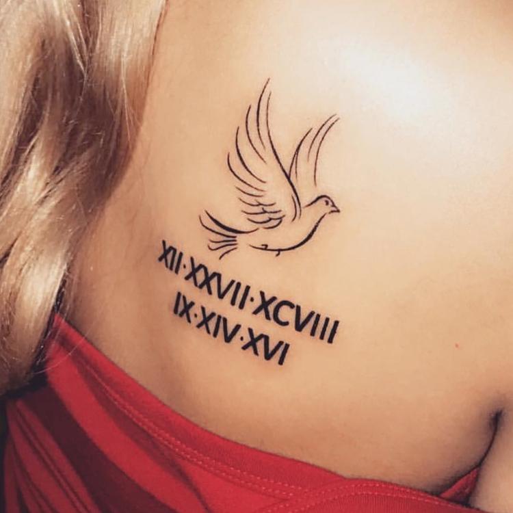 dove and roman numerals
