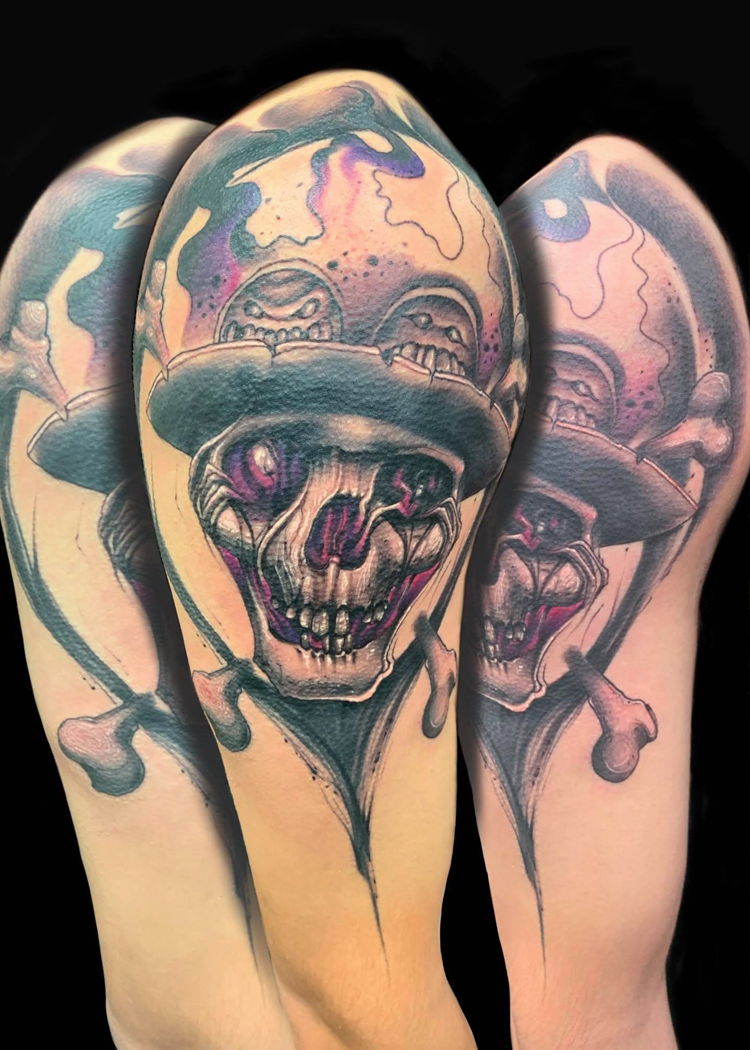 skull with hat