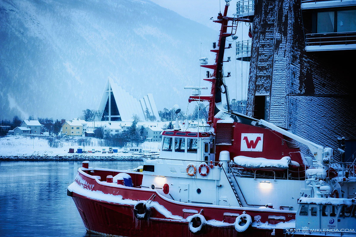 Tromso Harbour Tug & Arctic Cathedral Winter Morning by Kent Miklenda 800pxh KM.jpg