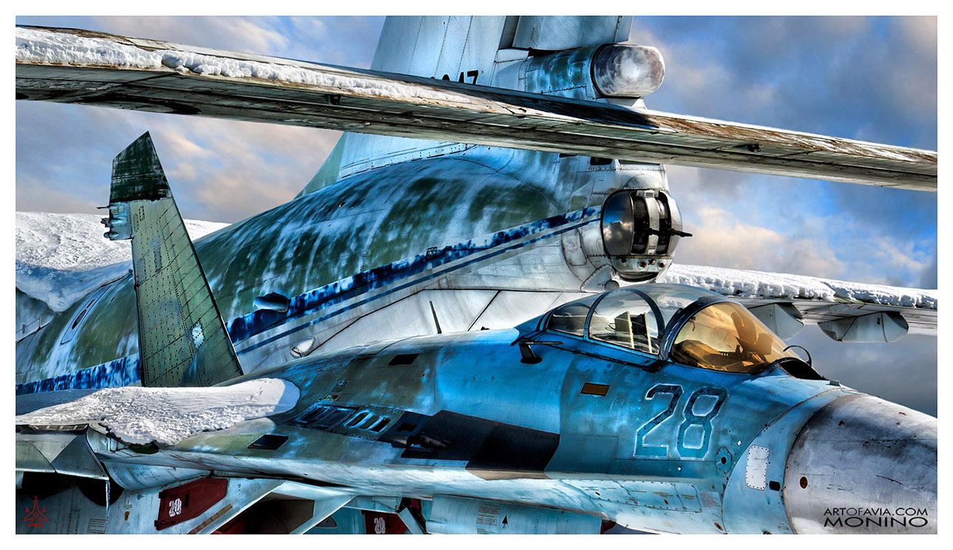 Sukhoi-Su-27P-and-Ilyushin-76-Art-of-Avia-Central-Air-Force-Museum-Monino-by-Kent-Miklenda-800pxh-16-9-WW-F-A-BW.jpg