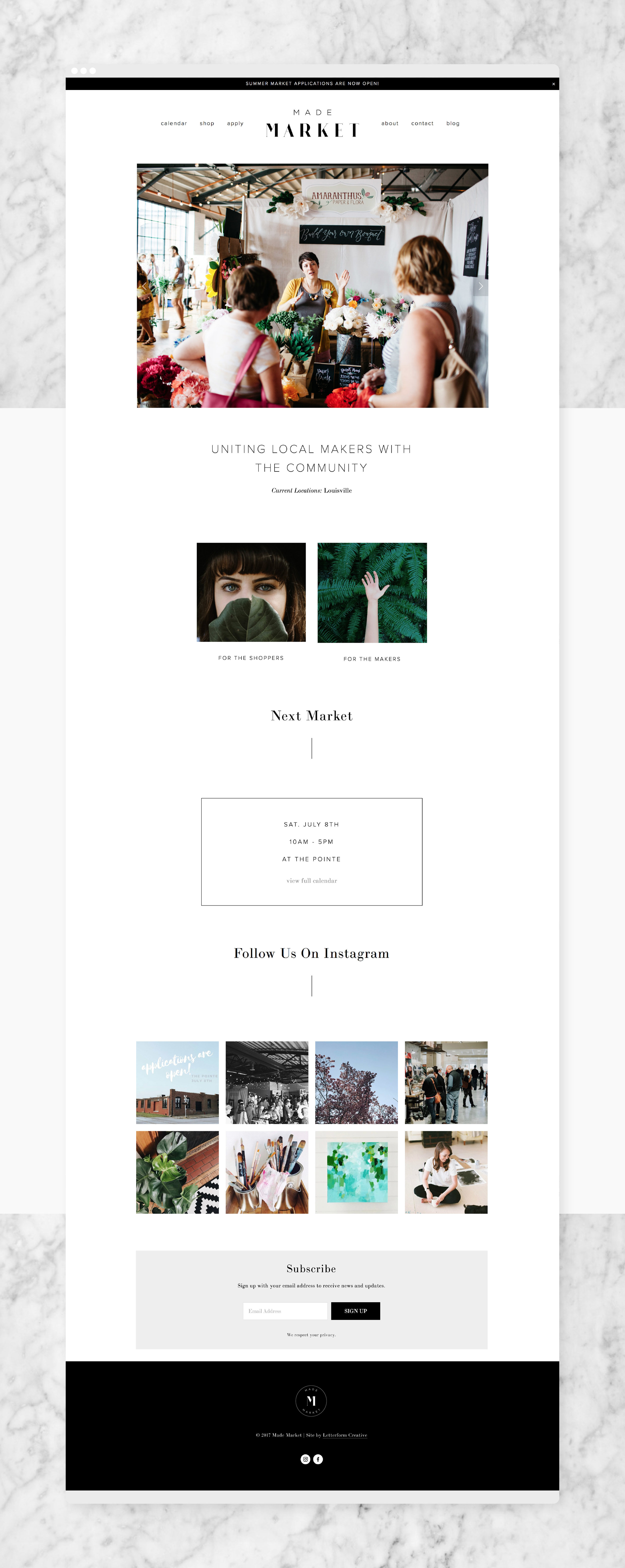 Made Market Homepage / Letterform Creative