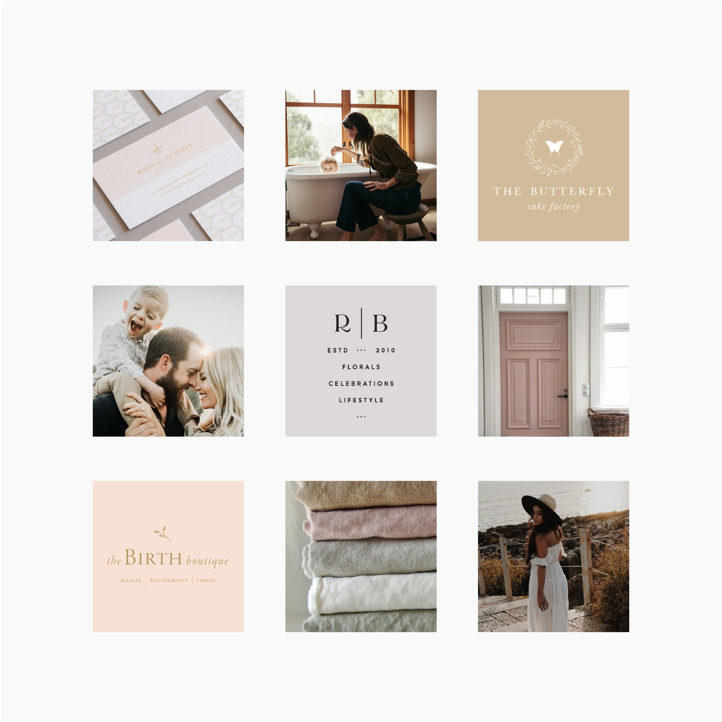 Looking for a little branding inspiration? This Mood board, designed by Letterform Creative, is for a family films videographer. The warm color palette and natural textures evoke a relaxed and comfortable feeling. Mood boards are a great way to guide your personal or business logo design or brand identity. If you're unable to work one-on-one with a graphic designer, create your own. The first step is to gather all of the Ideas you have, then pare them down to a  single, unified style. Click through to read more on the blog.