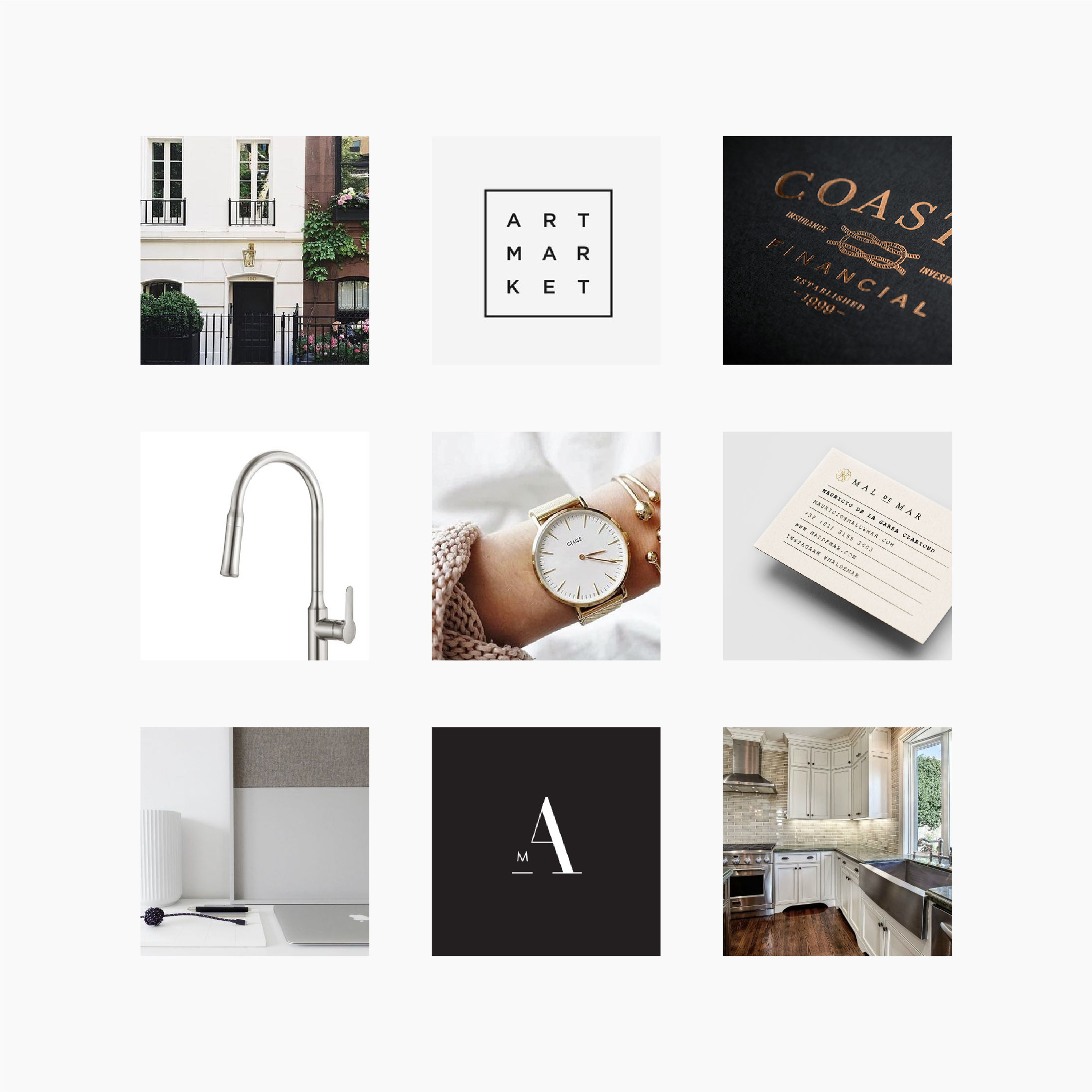 Looking for branding inspiration for your small business?This mood board is sophisticated with a heritage feeling. Serif fonts and neutral colors evoke the timelessness of the brand, while the sans serifs and clean lines keep it modern.