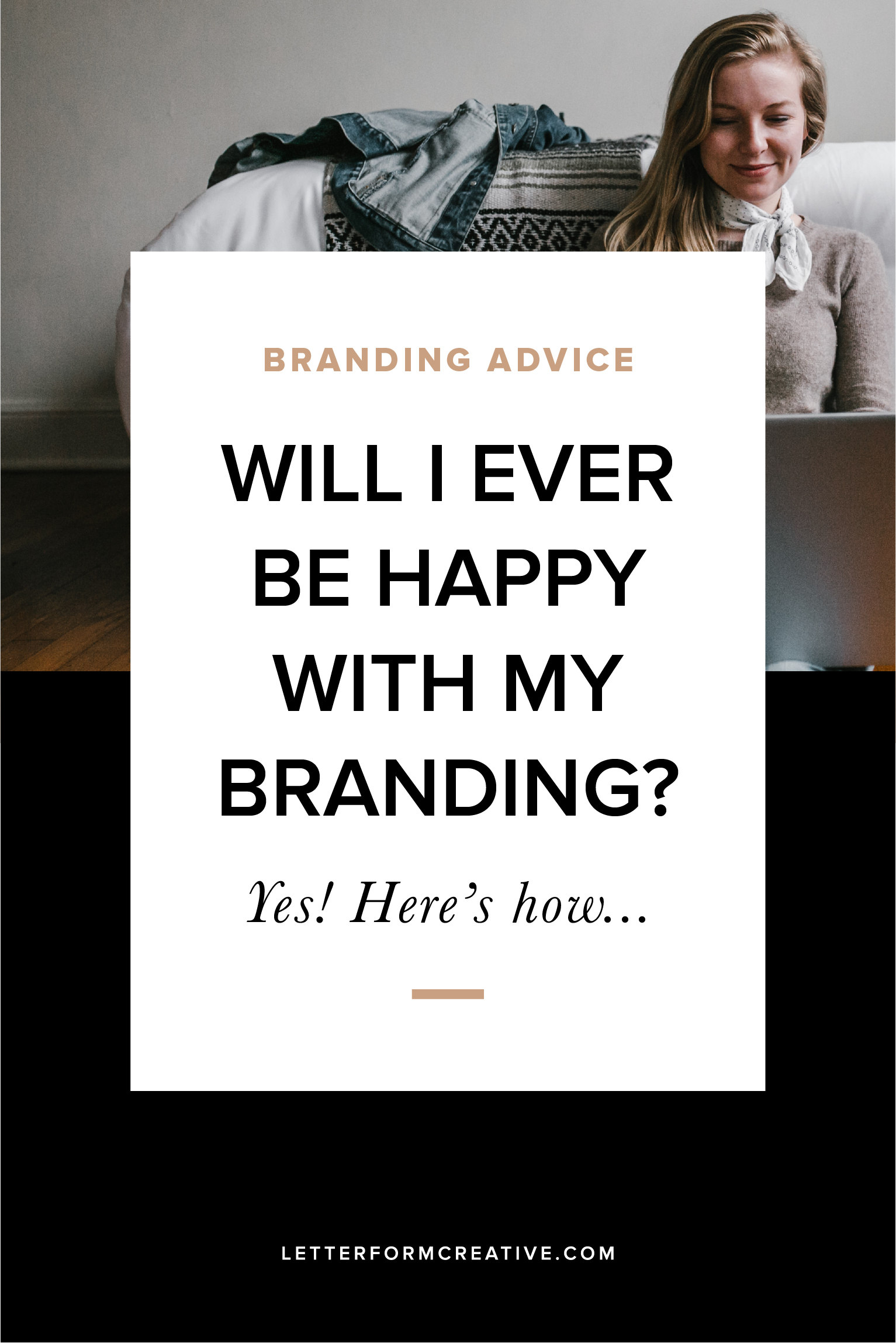 Hey small business owner, are you constantly changing your logo and tweaking your color palette, never quite happy with your branding? You're not alone! Hear from a professional designer how you can finally be content with your brand identity! This post covers DIYed branding, professional branding, and even re-branidng. Click through to finally find contentment with your branding!