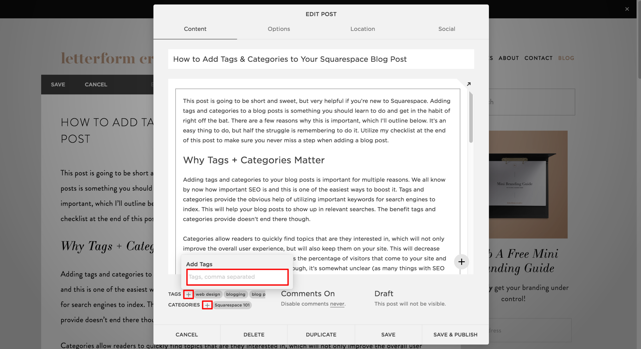 Are you using Squarespace for your small business's website? If so, learn how to add tags and categories to your blog posts. Not only will this help with SEO, it will make your site more user-friendly. This post also includes a helpful blogging Checklist! Click through to read it.