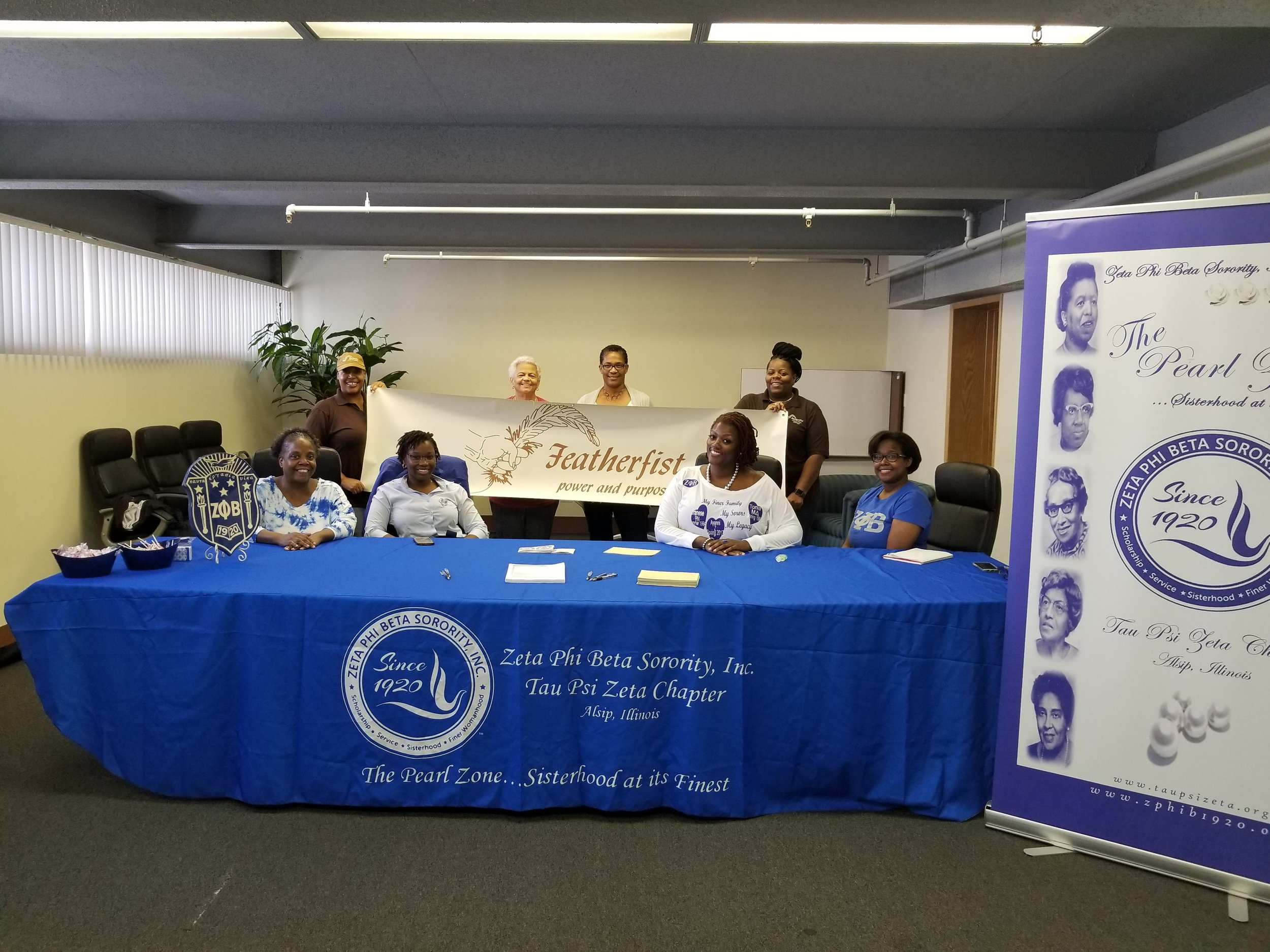 Sept 2018: Featherfist thanks Zeta Phi Beta Sorority, Inc. Tau Psi Zeta Chapter for sharing their time to help people in registering to vote.