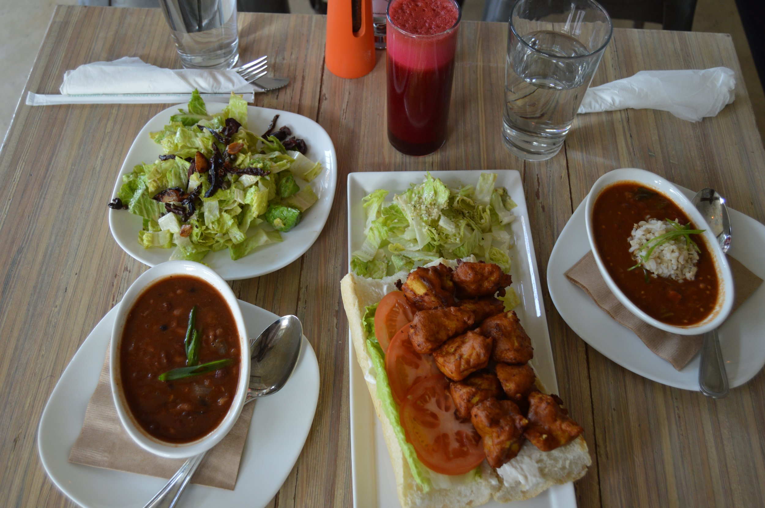 Seed Caesar, Three Bean Chili, Southern Fried Poboy & Seed Gumbo Juice: The Standard (carrots, beets, granny smith apples,ginger)