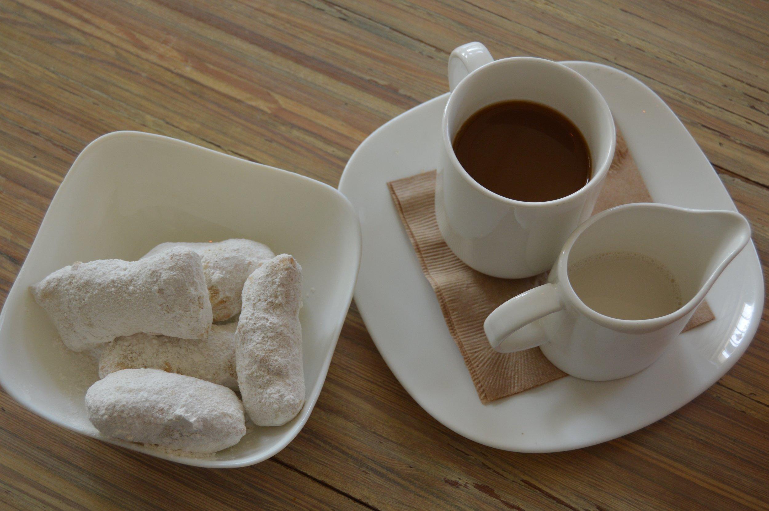 Fresh Vegan Beignets with Coffee