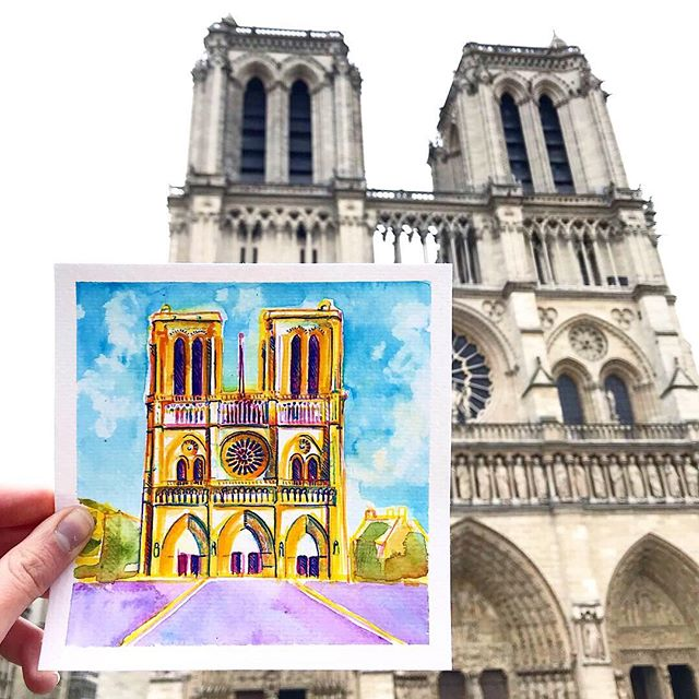 Here's a little painting Grace and I created together while in Paris. Notre Dame was one of my favorite places to visit, and since I never shared this art or the photos from our day there, now seemed like the time. . I'm glad nobody was hurt, but my heart still goes out to France and anyone like me who feels the tragedy of losing the beautiful 13th century ceiling of this beautiful historic landmark. 💔
