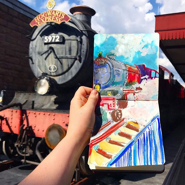 Quick art I made on-site in Harry Potter world last weekend! . Swipe to watch a video with the Hogwarts Express coming into the station. Turn on sound 🔈and if that music doesn't make you feel all the feels, you're a heartless Harry Potter-hatin' hooligan. 😭🥰😉 . #TessaRoseTravelArt #TessaRoseArtwork #TRoseTravels