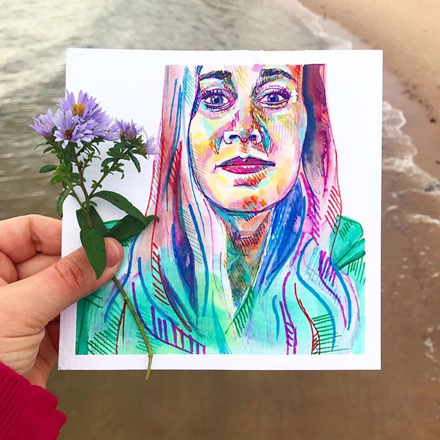 "Last year, I decided I'd like to paint a birthday self-portrait every year. I started and never finished last year's, but this year I spent my birthday (yesterday) on Prince Edward Island off the east coast of Canada, where I've had plenty of lovely, slow-moving time to paint in a cottage in the woods. . This beach, these ""purple sea flowers"" (as I call them), and this self-portrait remind me of the miracle (and downright cuteness) of this trip. . 💜🌸🍃🌲🎂🎨 . I've been creating and posting mostly abstract work for a few years now, so some of my newer followers and friends may be less familiar with my portraits. This one is unique in terms of how the hair fades into the clothes, but I love that extra softness. I hope you like it too — feast your eyes! 😍😉 #TessaRoseArtwork #TessaRoseTravelArt"