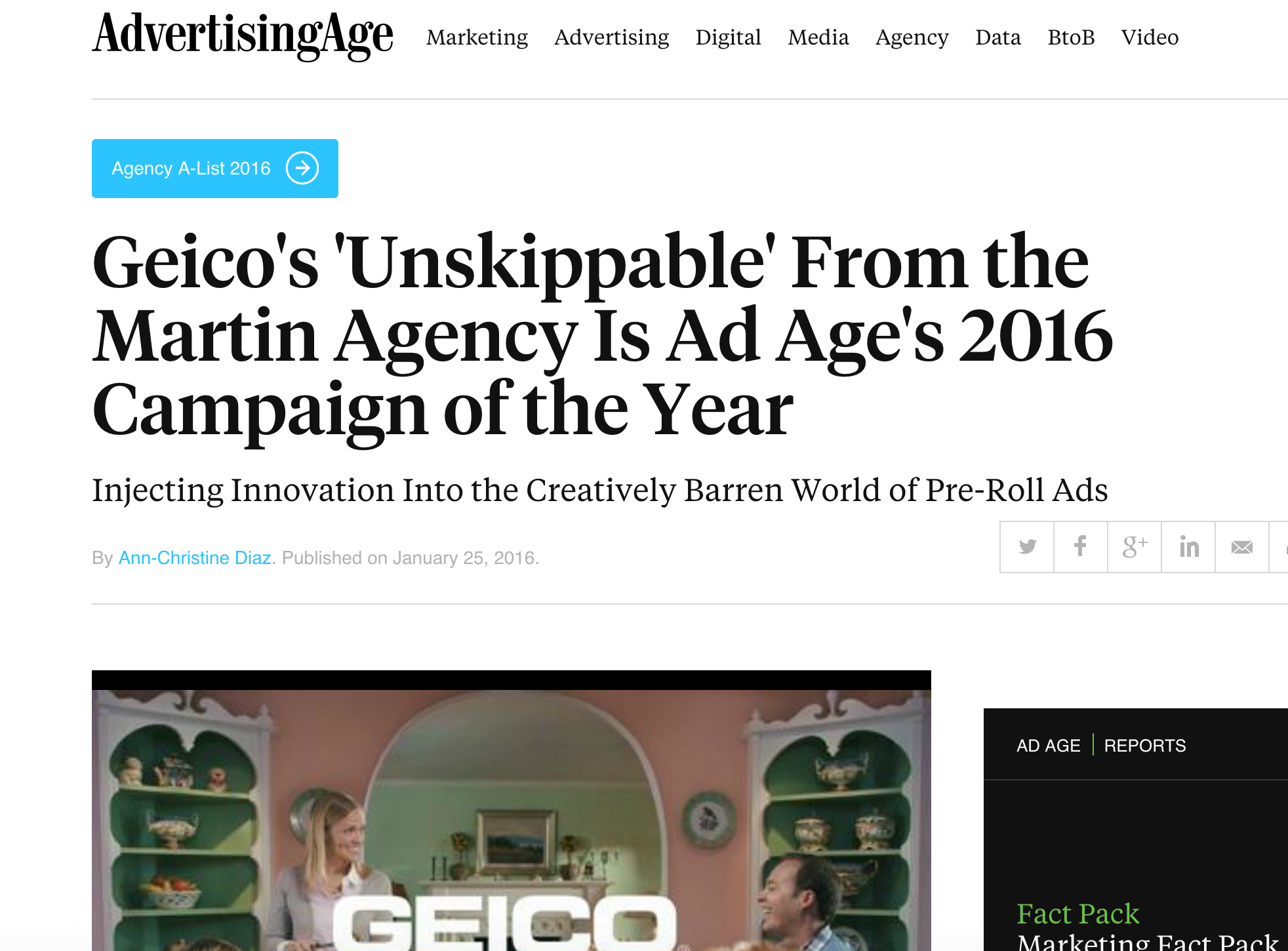 Geico's 'Unskippable' is Ad Age's 2016 Campaign of the Year