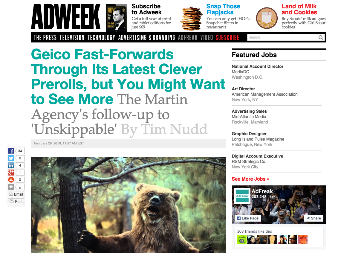 Geico Fast-Forwards Through Its Latest Clever Prerolls
