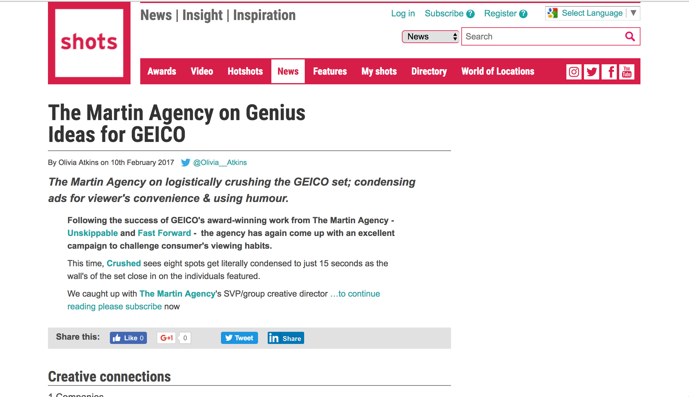 The Martin Agency on logistically crushing the GEICO set; condensing ads for viewer's convenience & using humour.