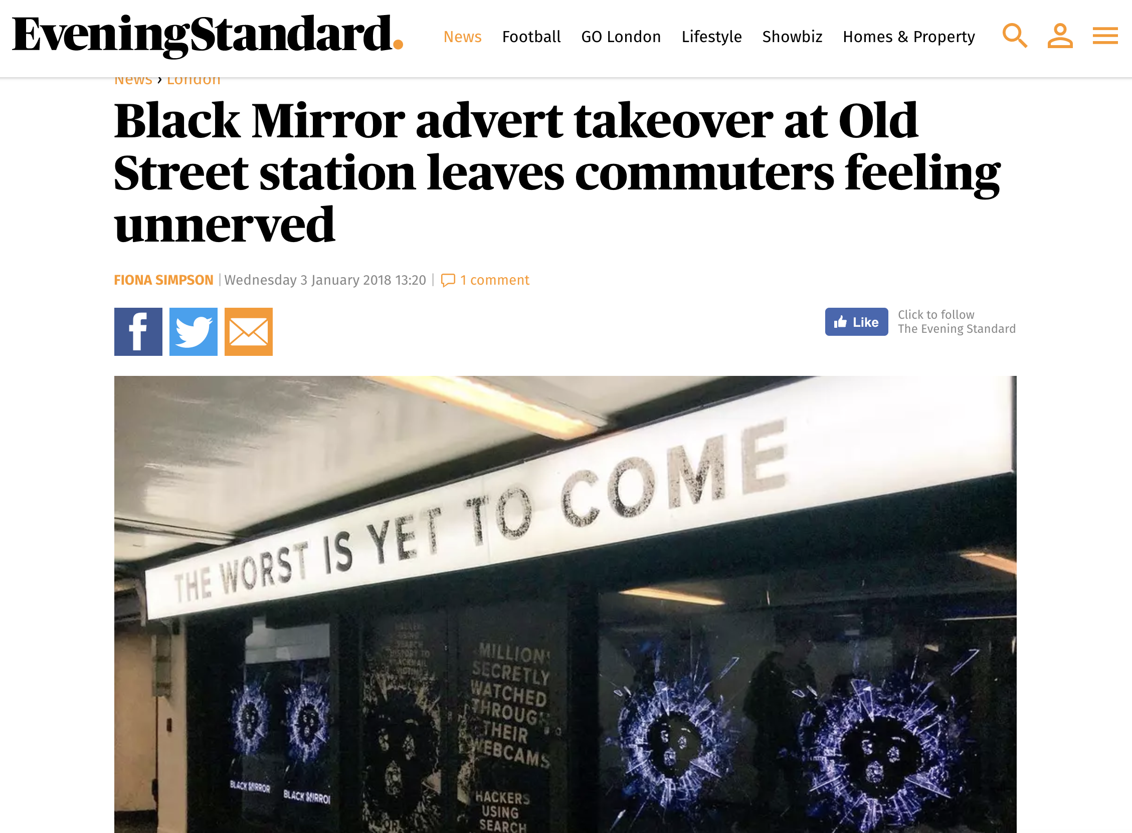 Black Mirror Ads take over Old Street Station