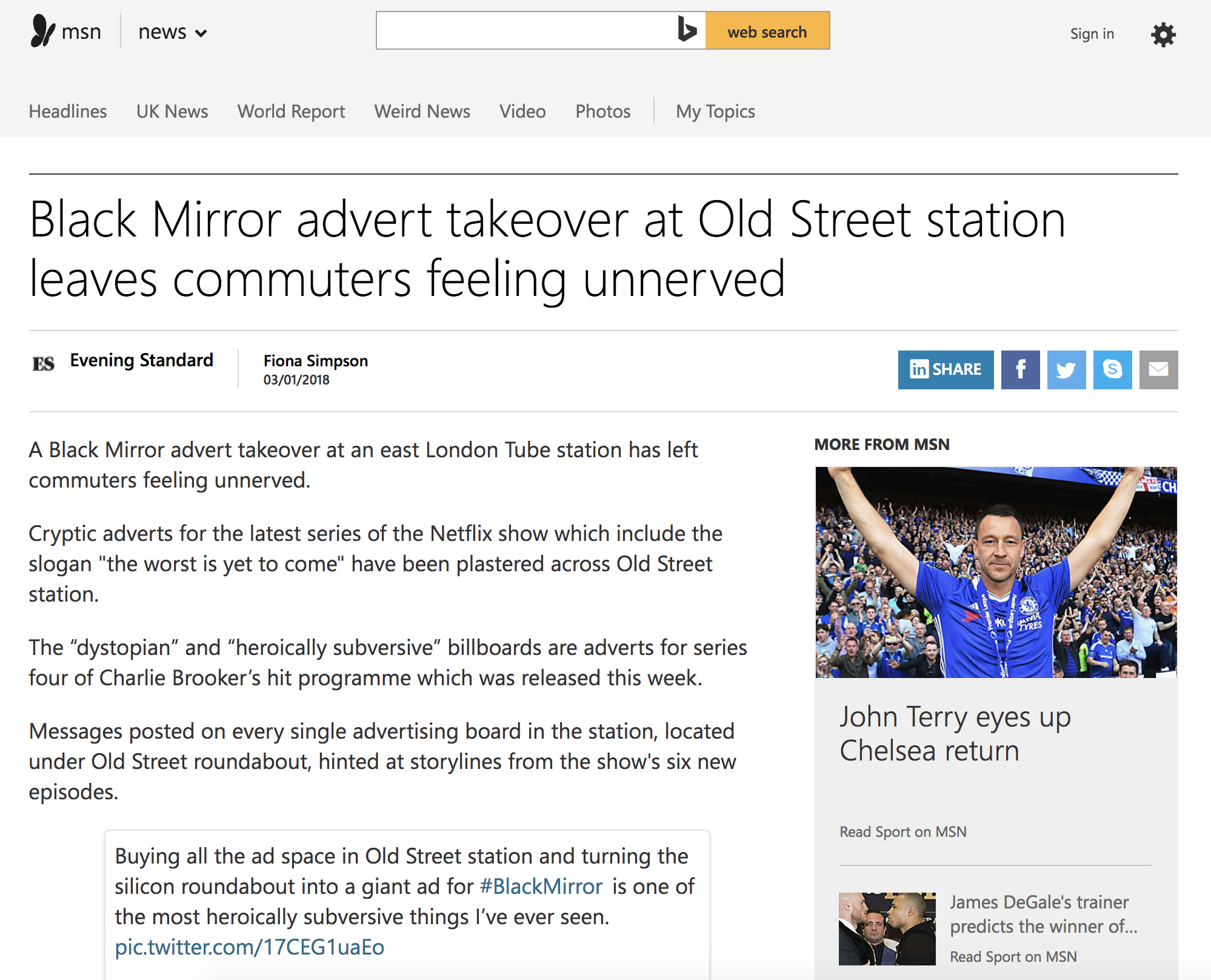 Black Mirror advert takeover at Old Street station leaves commuters feeling unnerved