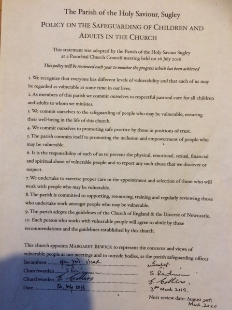 Updated policy as agreed by Standing Committee and signed by Fr Neil Heslop March 2019.