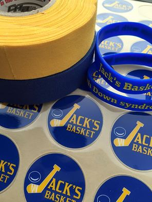 Stickers for the helmets, Down syndrome     awareness colors for the hockey tape, and wristbands to spread the mission!
