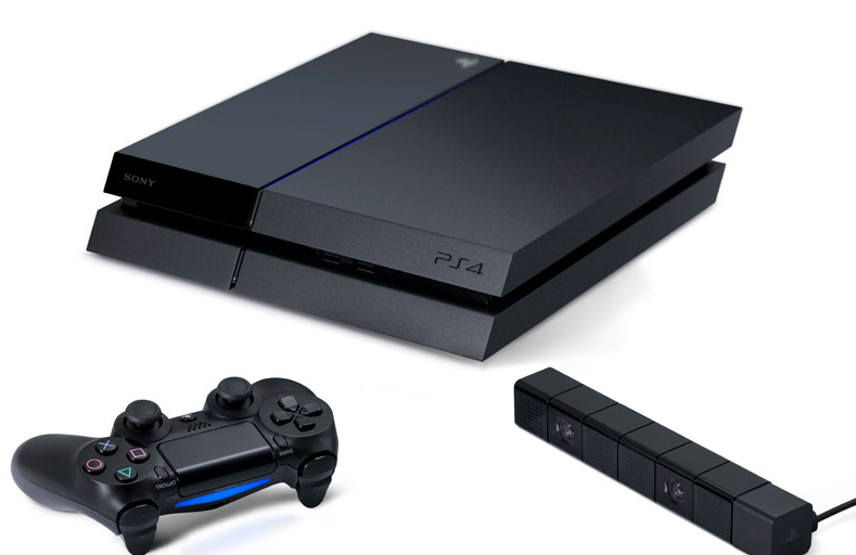 PS4 with controller and camera