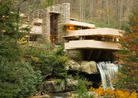 AMERICAN MODERNISM:  Frank Lloyd Wright. The Kaufmann House known as Fallingwater, Mill Run, PA, 1939. Photo by Walter Bibikow. Getty Images.