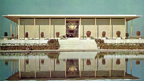 NEW FORMALIST:  Edward Durrell Stone, United States Embassy, New Delhi, India, 1959-1960. Edward Durrell Stone Archives.