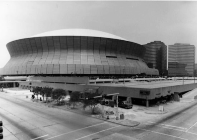 NEW ORLEANS:  Curtis & Davis. Louisiana Superdome, New Orleans, LA, 1967-1975. Photo by Franck – Bertacci circa 1975. The Historic New Orleans Collection.