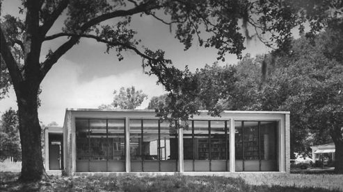 INTERNATIONAL STYLE:  John Desmond. Miller Memorial Library, Hammond, LA, 1956-57. Photo by Frank Lotz Miller circa 1958. Louisiana National Register of Historic Places Database.